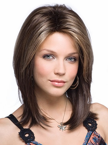 Synthetic Hair Wig For Black Women Medium Length Haircuts Straight With Regard To Newest Middle Part And Medium Length Hairstyles (View 23 of 25)