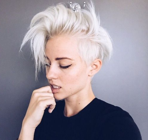 This Is The Cut I've Been Aiming For Since Having My Hair Cut Short Inside Bleached Feminine Mohawk Hairstyles (View 16 of 25)