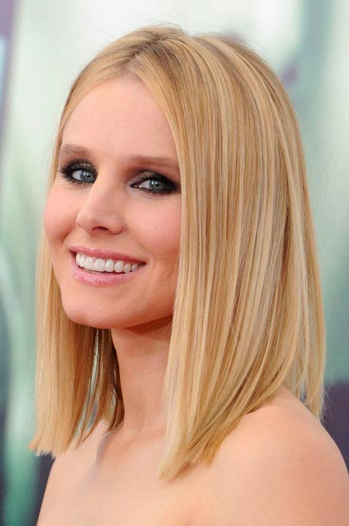 Top 100 Shoulder Length Hairstyles Inspired From Celebs | Hairstyles Regarding Most Current Middle Part And Medium Length Hairstyles (View 16 of 25)