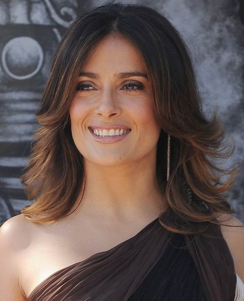 Top 26 Salma Hayek Hairstyles – Pretty Designs Pertaining To Most Up To Date Long Bob Hairstyles With Flipped Layered Ends (View 15 of 25)