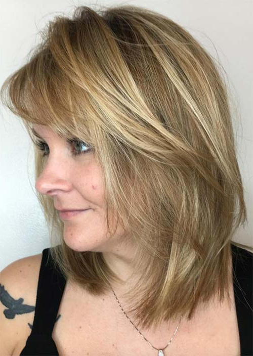 Top 51 Haircuts & Hairstyles For Women Over 50 – Glowsly With Recent Medium Hairstyles With Layered Bottom (View 19 of 25)