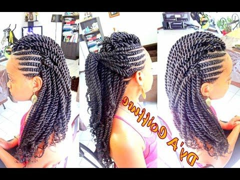 Tutorial : Mohawk / Faux Hawk Style – Ghana Cornrows & Havana Twist Pertaining To Braids And Twists Fauxhawk Hairstyles (View 2 of 25)