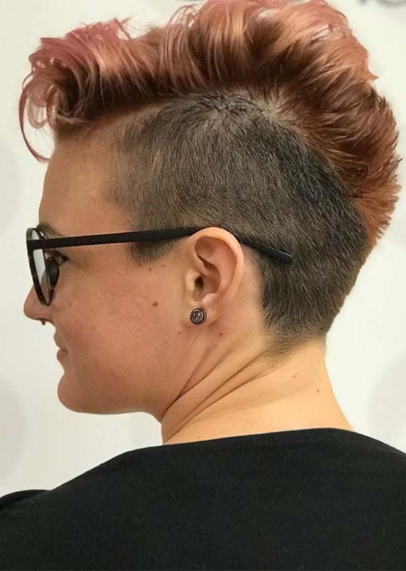 Unique Side Shaved Pixie Haircuts For Women 2019 | Pixie Hair Cuts Inside Heartbeat Babe Mohawk Hairstyles (View 5 of 25)