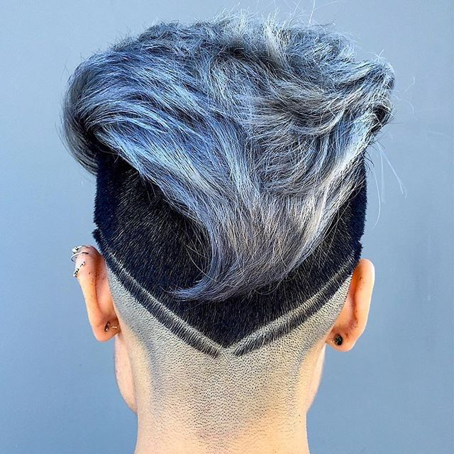 V Cut Mohawk Dark Sides Ice Blue Gray Color Hairstyle | Hair | Hair Intended For Platinum Mohawk Hairstyles With Geometric Designs (View 24 of 25)