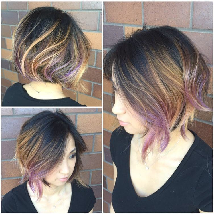 Women's Slightly Angled Blowout Bob On Dark Hair With Caramel And Within 2018 Medium Angled Purple Bob Hairstyles (View 12 of 25)