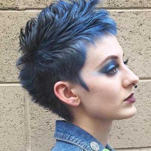 Featured Photo of Textured Blue Mohawk Hairstyles