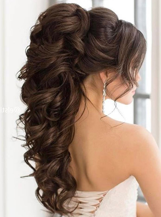 10 Bridal Hairdos For Long Hair Regarding Curly Ponytail Wedding Hairstyles For Long Hair (View 5 of 25)