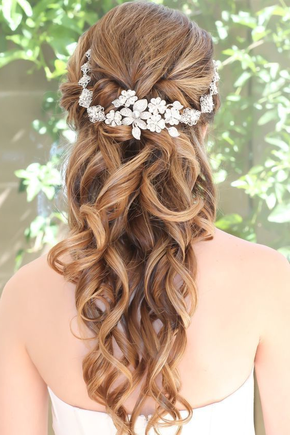 10 Flower Crown Hairstyles For Any Bride – Mywedding In Floral Crown Half Up Half Down Bridal Hairstyles (View 8 of 25)
