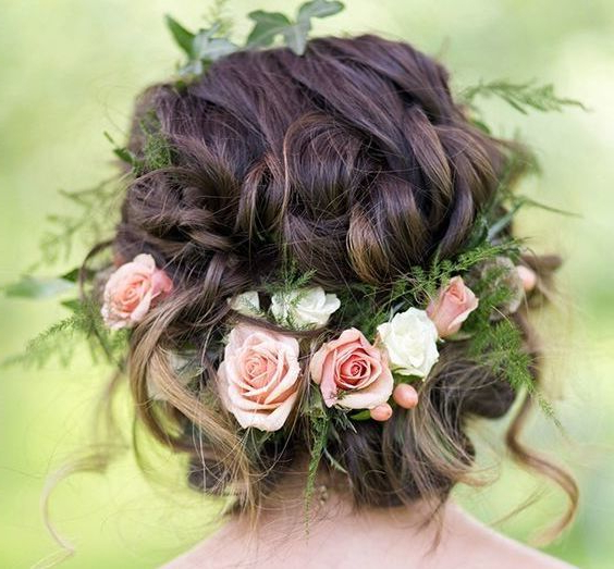 10 Flower Crown Hairstyles For Any Bride – Mywedding Pertaining To Messy Woven Updo Hairstyles For Mother Of The Bride (View 24 of 25)