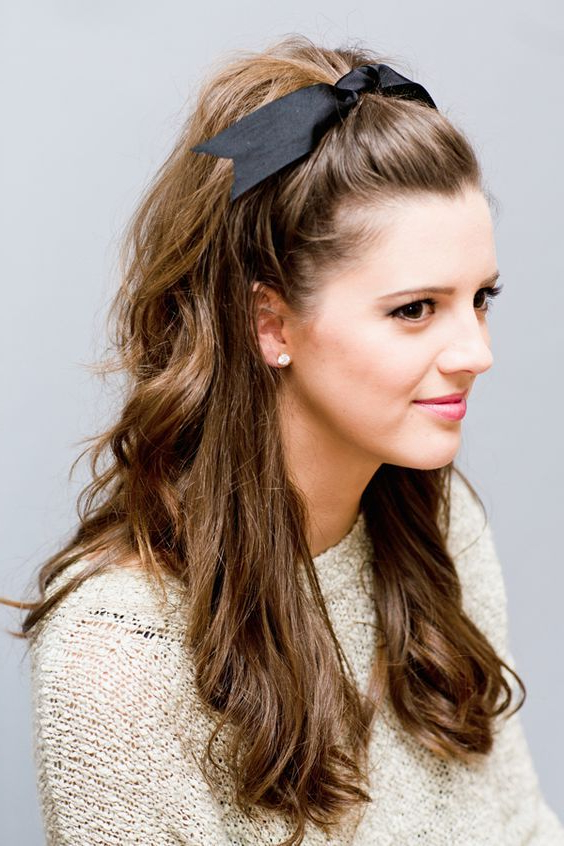 10 Gorgeous Half Up, Half Down Wedding Hairstyles | Volume For Ponytail Bridal Hairstyles With Headband And Bow (View 5 of 25)