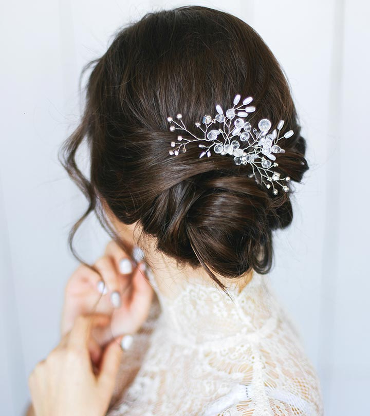 10 Gorgeous Wedding Updos For Short Hair With Sleek Bridal Hairstyles With Floral Barrette (View 9 of 25)