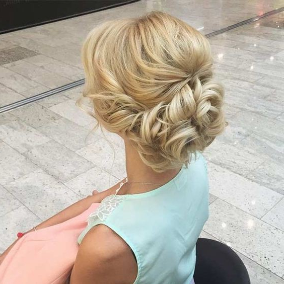 10 Pretty Messy Updos For Long Hair: Updo Hairstyles 2019 For Embellished Caramel Blonde Chignon Bridal Hairstyles (View 2 of 25)