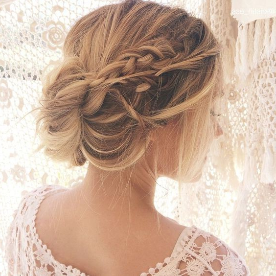10 Pretty Messy Updos For Long Hair: Updo Hairstyles 2019 For Embellished Caramel Blonde Chignon Bridal Hairstyles (View 1 of 25)