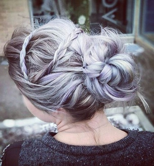 10 Pretty Messy Updos For Long Hair: Updo Hairstyles 2019 With Embellished Caramel Blonde Chignon Bridal Hairstyles (View 15 of 25)