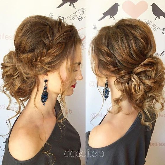 10 Pretty Messy Updos For Long Hair: Updo Hairstyles 2019 With Voluminous Curly Updo Hairstyles With Bangs (View 12 of 25)