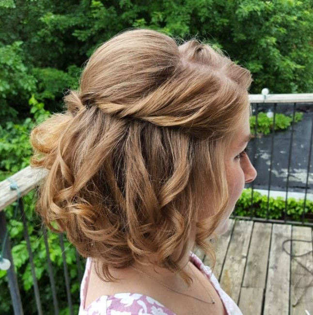 10 Short Hair Wedding Updos That'll Take You Breath Away Throughout Loose Curly Half Updo Wedding Hairstyles With Bouffant (View 9 of 25)