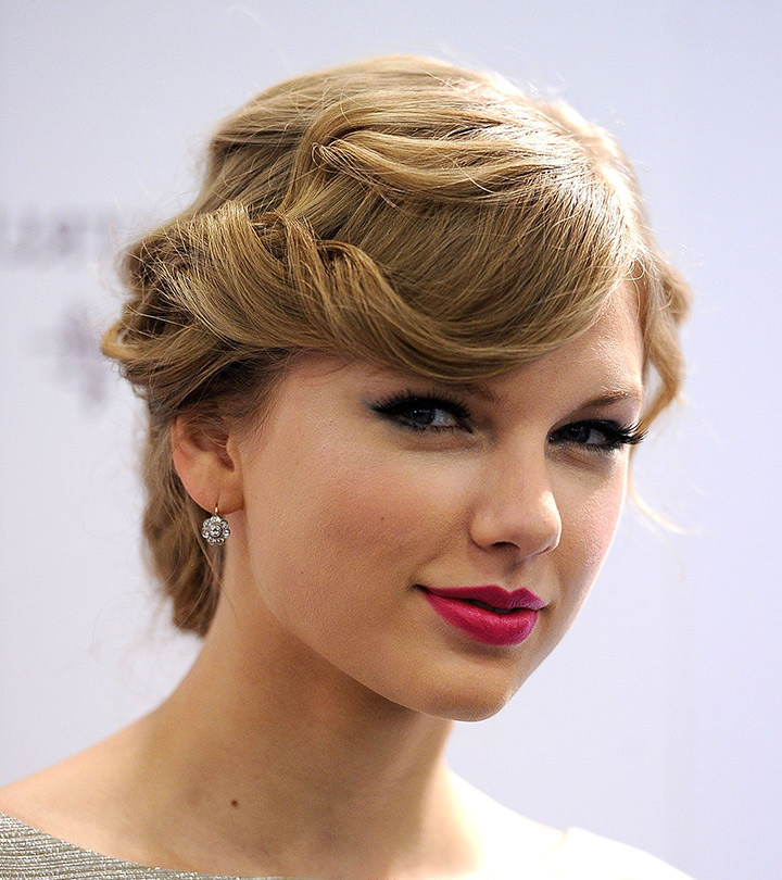 10 Stunning Taylor Swift Updo Hairstyles With Tousled Asymmetrical Updo Wedding Hairstyles (View 14 of 25)