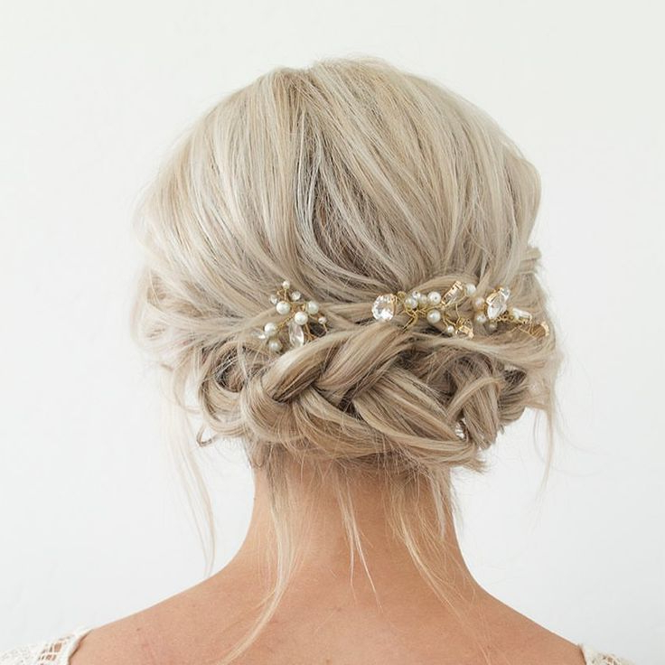 12 Amazing Updo Ideas For Women With Short Hair | Updo Hairstyles With Regard To Embellished Caramel Blonde Chignon Bridal Hairstyles (View 2 of 25)
