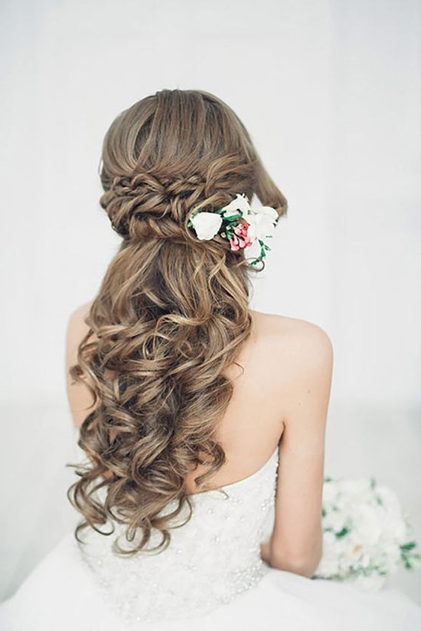 125 Beautiful Half Up Half Down Hairstyles Pertaining To Loose Curly Half Updo Wedding Hairstyles With Bouffant (View 19 of 25)