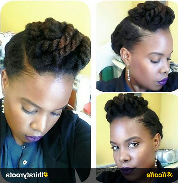 13 Natural Hair Updo Hairstyles You Can Create Regarding Two Toned Twist Updos For Wedding (View 14 of 25)