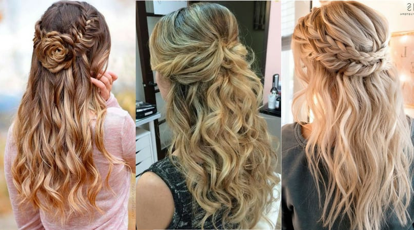 14893 Half Up Half Down Hairstyles For Wedding, Prom Etc [Video Added] Pertaining To Diagonal Waterfall Braid In Half Up Bridal Hairstyles (View 7 of 25)