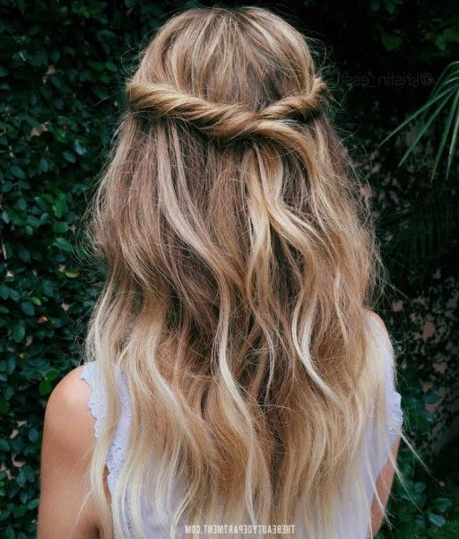 15 Casual & Simple Hairstyles That Are Half Up, Half Down With Regard To Twisted And Pinned Half Up Wedding Hairstyles (View 9 of 25)