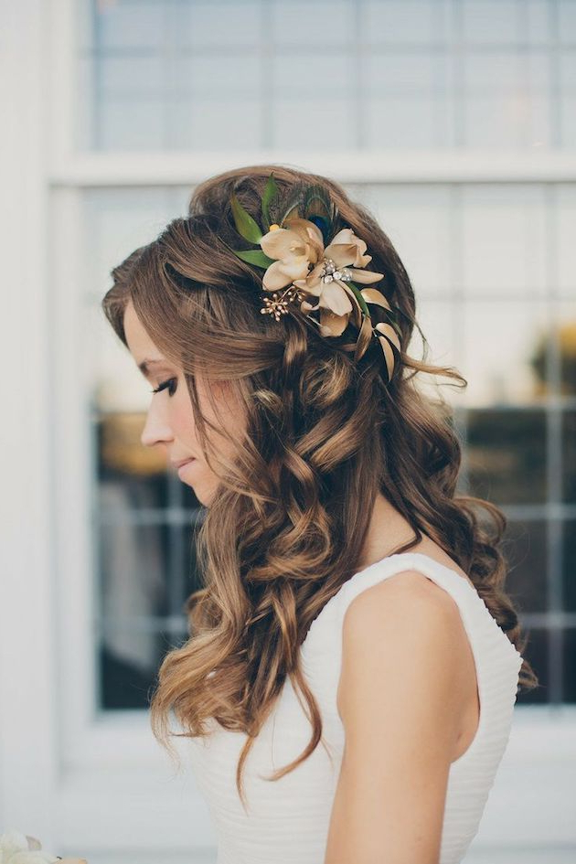 15 Gorgeous Half Up Half Down Hairstyles For Your Wedding | Hair Inside Sleek Bridal Hairstyles With Floral Barrette (View 2 of 25)