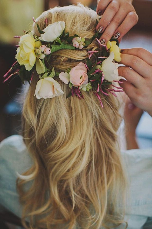 15 Latest Half Up Half Down Wedding Hairstyles For Trendy Brides Inside Floral Crown Half Up Half Down Bridal Hairstyles (View 10 of 25)