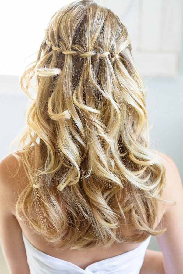 15 Stunning Waterfall Braids – Pretty Designs For Fabulous Cascade Of Loose Curls Bridal Hairstyles (View 9 of 25)