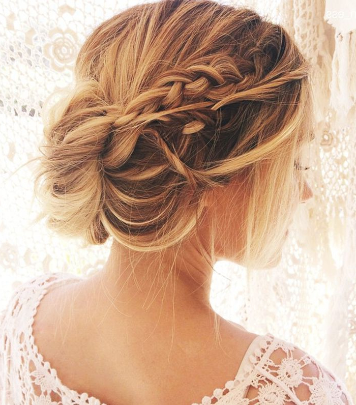 15 Updos For Thin Hair That You'll Love | Byrdie Throughout Low Messy Bun Wedding Hairstyles For Fine Hair (View 6 of 25)