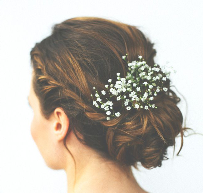 16 Wedding Hairstyles With Flowers | A Wed Hair | Pinterest Intended For French Twist Wedding Updos With Babys Breath (View 8 of 25)