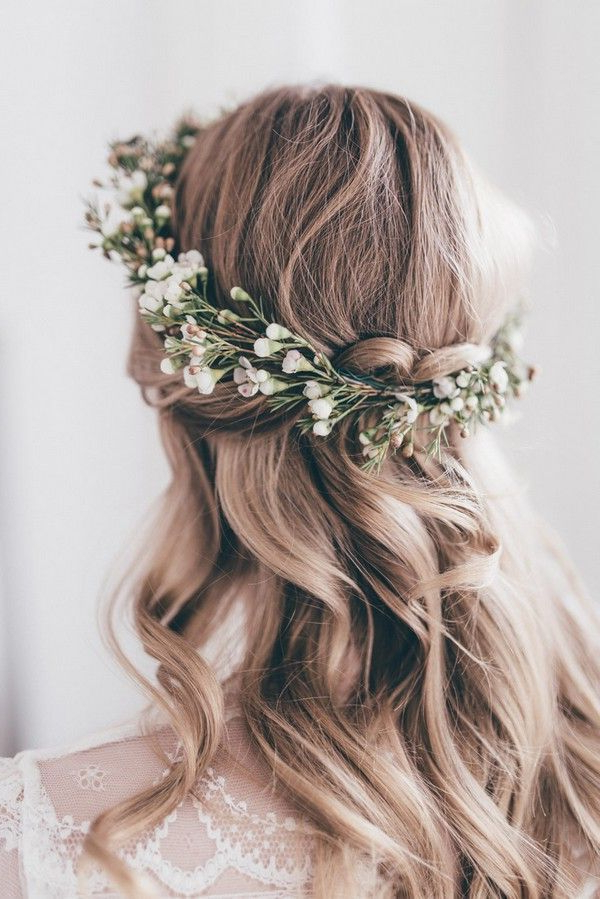 18 Gorgeous Wedding Hairstyles With Flower Crown – Page 2 Of 3 Throughout Floral Crown Half Up Half Down Bridal Hairstyles (View 2 of 25)