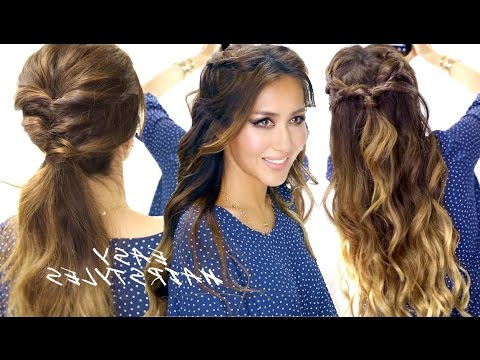 2 ? Super Easy School Hairstyles | Braided Half Up & Cute Ponytail Inside Voluminous Half Ponytail Bridal Hairstyles (View 10 of 25)