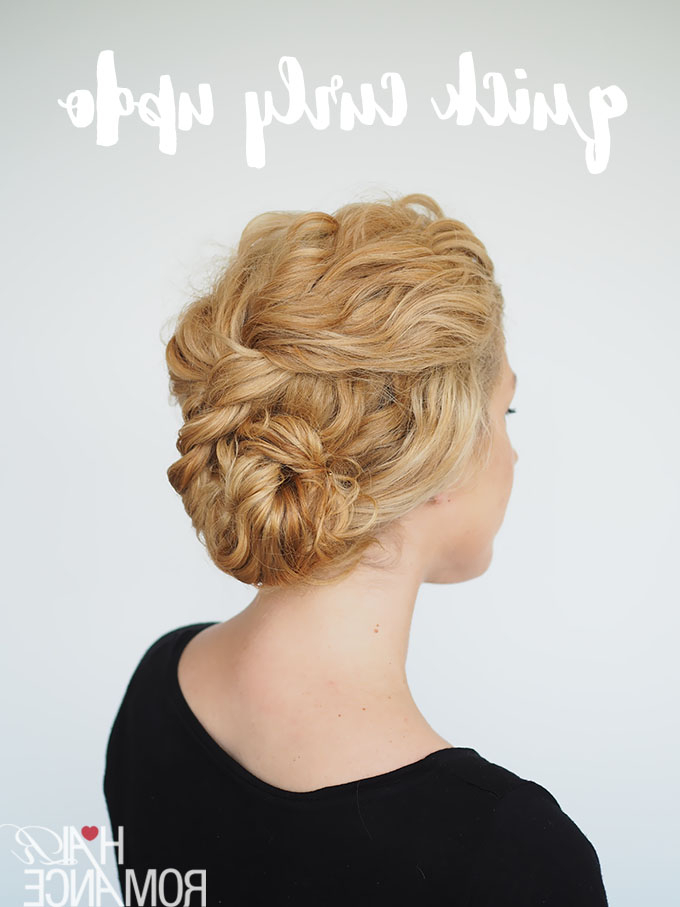 2 Min Updo For Curly Hair – Hair Romance Throughout Curly Messy Updo Wedding Hairstyles For Fine Hair (View 19 of 25)