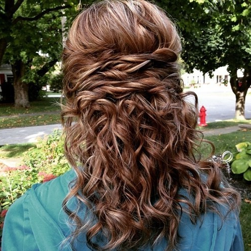 20 Amazing Braided Hairstyles For Homecoming, Wedding & Prom Pertaining To Half Up Curly Hairstyles With Highlights (View 19 of 25)