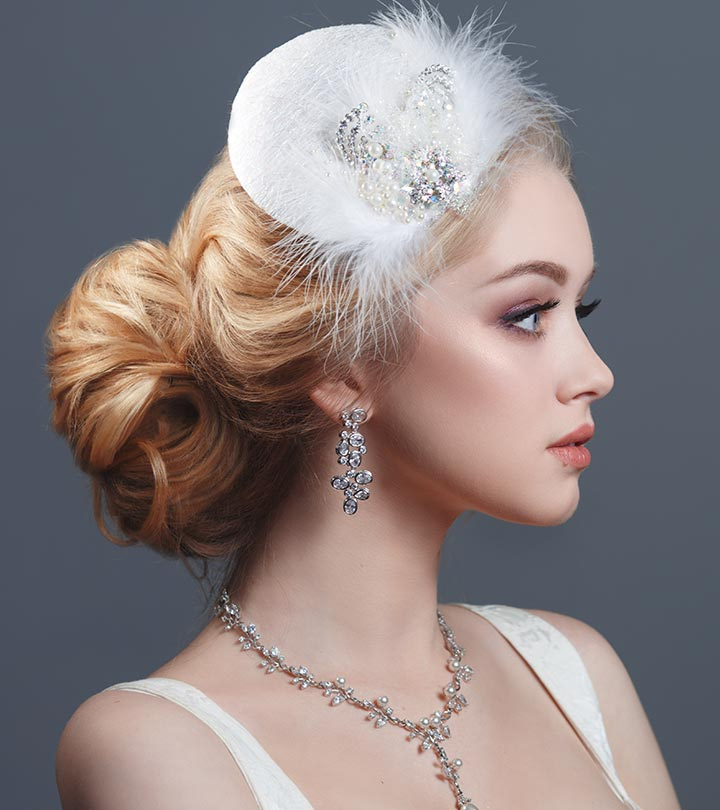 20 Best Hairstyles For Brides With Round Faces Inside Large Curly Bun Bridal Hairstyles With Beaded Clip (View 14 of 25)