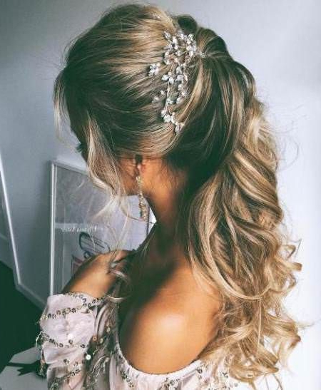20 Best Half Up And Half Down Wedding Hairstyles | Wedding Looks intended for Curly Ponytail Wedding Hairstyles For Long Hair