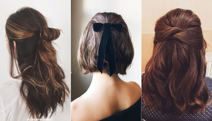 20+ Easy Half Up Hairstyles That'll Only Take Minutes To Achieve Throughout Medium Half Up Half Down Bridal Hairstyles With Fancy Knots (View 19 of 25)