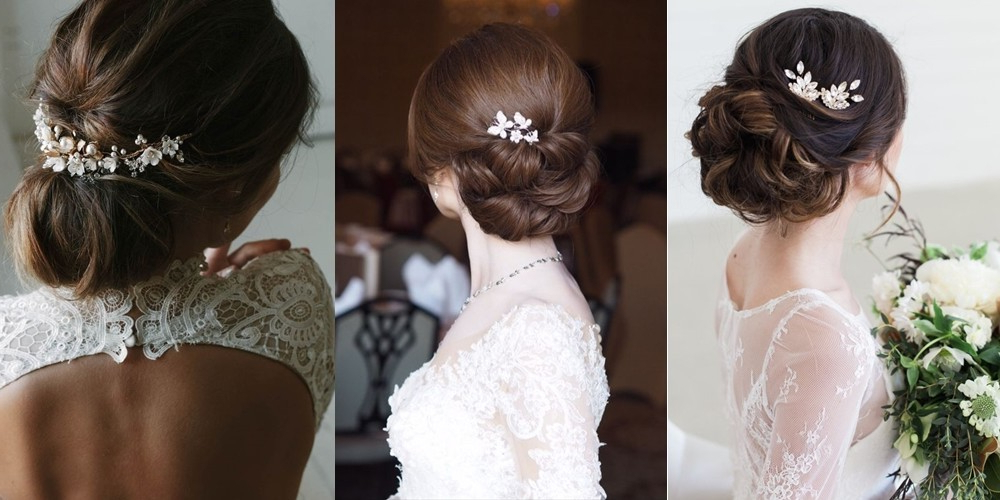 20+ Elegant Bridal Flower Hair Pins Ideas For Brides To Be In Within Embellished Twisted Bun For Brides (View 25 of 25)
