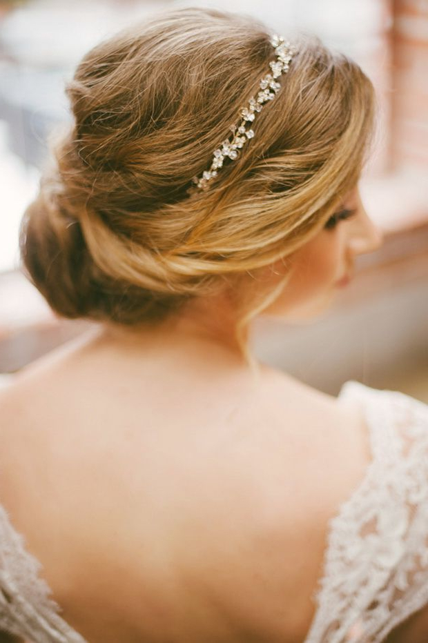 20 Elegant Wedding Hairstyles With Exquisite Headpieces   Hair And Within Bridal Chignon Hairstyles With Headband And Veil (View 2 of 25)