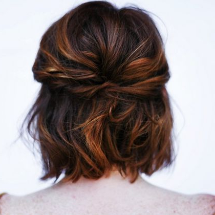 20 Great Updo Styles For Short Hair In 2019 | { Hair Inspiration Regarding Pulled Back Half Updo Bridal Hairstyles With Comb (View 6 of 25)