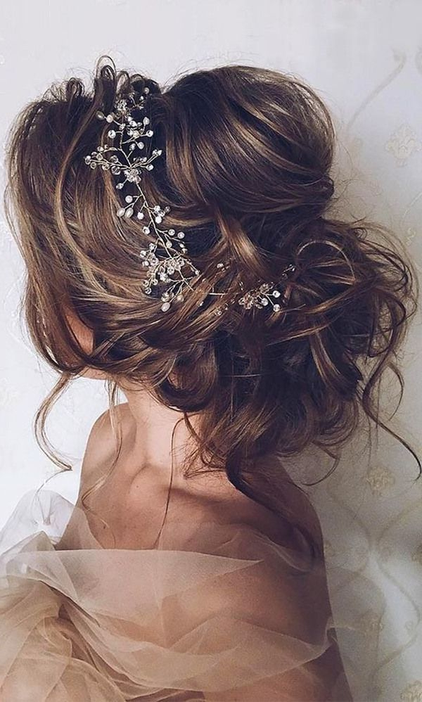 20 Most Romantic Bridal Updos Wedding Hairstyles To Inspire Your Big With Large Curly Bun Bridal Hairstyles With Beaded Clip (View 3 of 25)