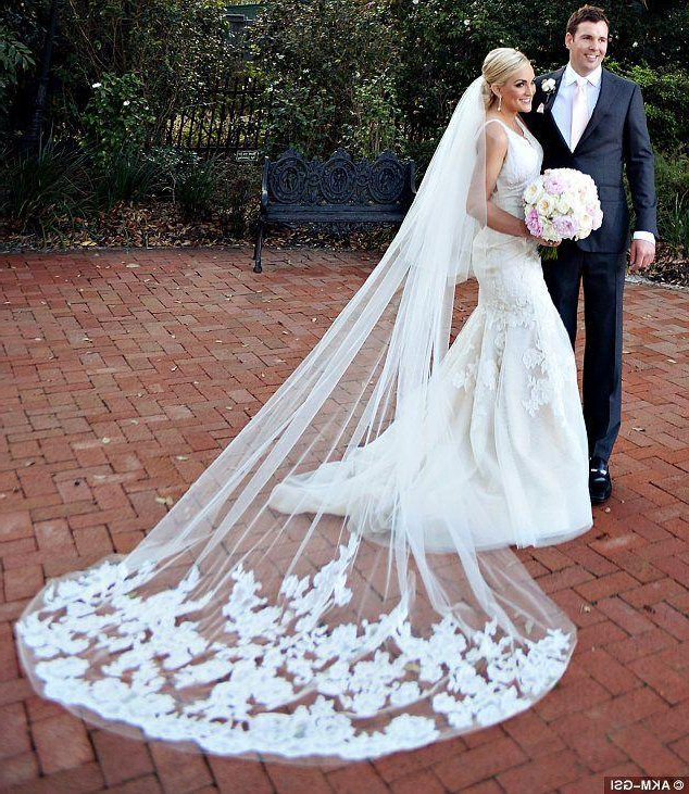 2015 Cathedral Bridal Veils Blusher Wedding Veils 2 Tiers Lace 3M Intended For Wedding Hairstyles With Extra Long Veil With A Train (View 9 of 25)