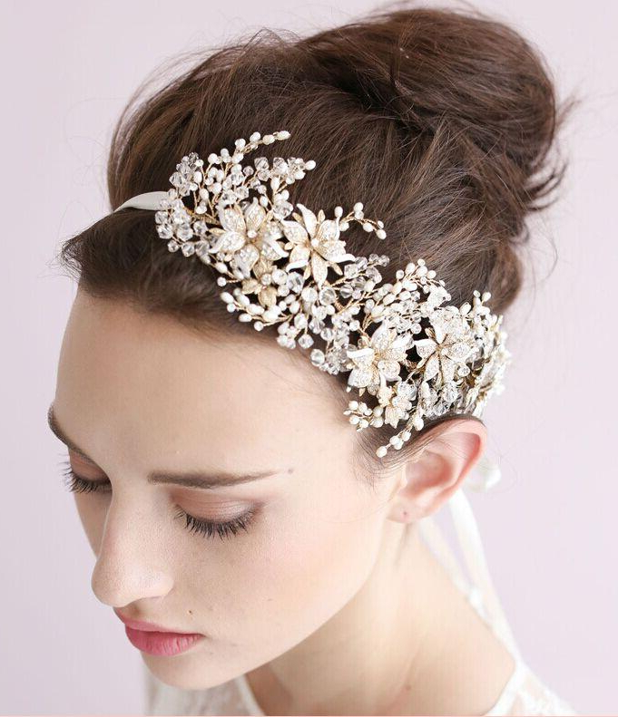 2015 Vintage Crystal Bridal Headpiece Headband Bridal Hair Flower Intended For High Updos With Jeweled Headband For Brides (View 9 of 25)