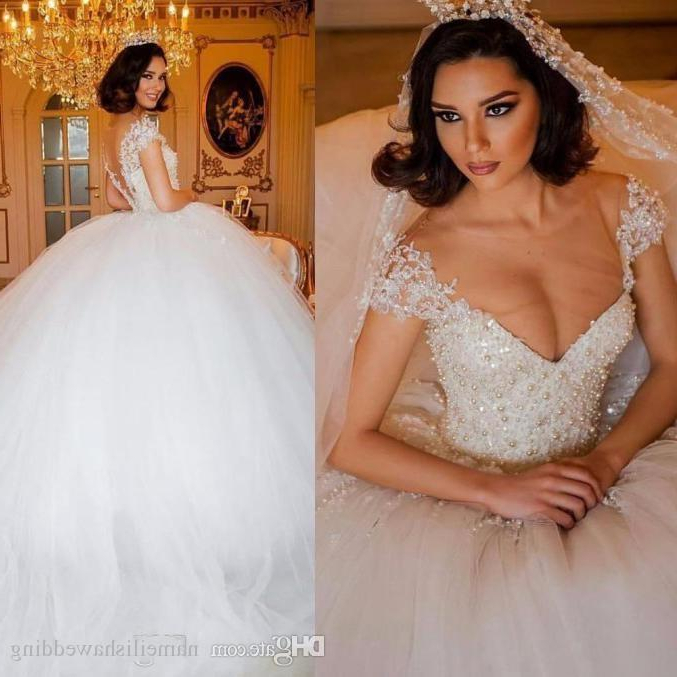 2017 Luxury Arabic Ball Gown Wedding Dresses Illusion V Neck Bodice Regarding Sleek And Big Princess Ball Gown Updos For Brides (View 13 of 25)