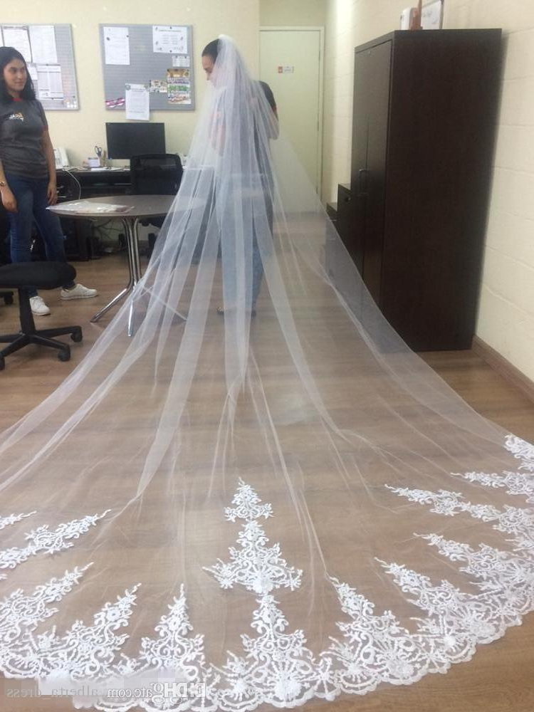 2018 New Wedding Veil Cathedral Train One Layer Long White Ivory Intended For Wedding Hairstyles With Extra Long Veil With A Train (View 25 of 25)