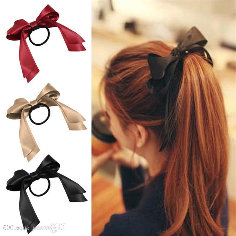2018 Women Ribbon Bow Hair Band Rope Scrunchie Ponytail Holder Gum With Ponytail Bridal Hairstyles With Headband And Bow (View 11 of 25)