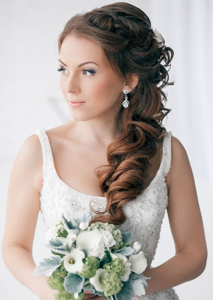 21 Best Shannon's Wedding Hairstyles Images On Pinterest | Braided For Curled Side Updo Hairstyles With Hair Jewelry (View 21 of 25)
