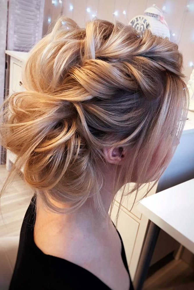 21 Lovely Medium Length Hairstyles To Wear At Date Night | Beauty With Destructed Messy Curly Bun Hairstyles For Wedding (View 6 of 25)