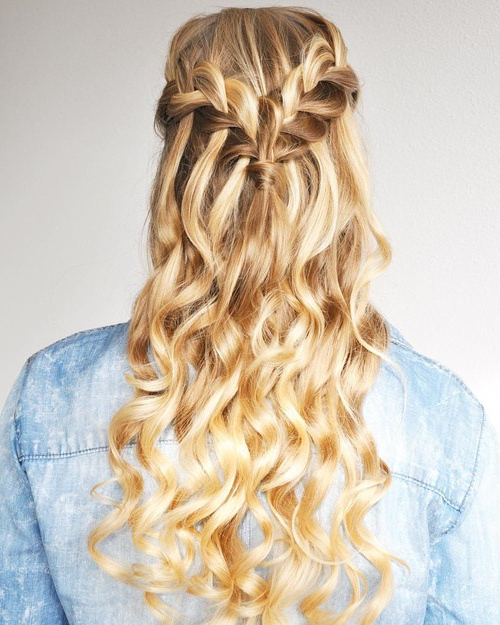 22 Gorgeous Easy Waterfall Hairstyles You Can Try This Season Intended For Diagonal Waterfall Braid In Half Up Bridal Hairstyles (View 8 of 25)